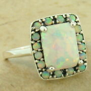 Princess Ring 925 Sterling Silver Art Deco Antique Style Lab Opal Size 10 1081