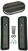 Chevy Black Aluminum Short Milled Valve Covers And 15 Air Cleaner Kit Sbc 5.7l