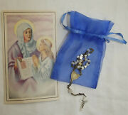 Chaplet Of St Anne Handmade Mother Of Pearl Late 19th Century W/sheer Pouchandcard