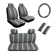 Baja Inca Saddle Mexican Blanket Car Seat Covers Combo 9pc High Back Suv