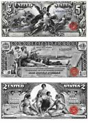 1896 Educational Series Reproduction Of 3 Famous Notes/ 1 2 5 Bills