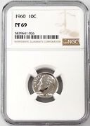 1960 Proof Roosevelt Dime Certified Pf 69 By Ngc