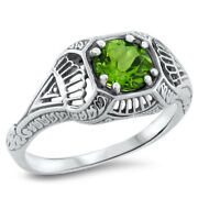 Genuine Peridot Art Deco Antique Style 925 Sterling Silver Ring Size 8  291
