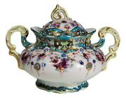 Antique Unsigned Nippon Porcelain Covered Sugar Bowl Hand Painted Teal Pink