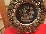 Vintage Egyptian 11 1/2 Copper Brass Metal Wall Decorative Plate Pharaoh And Queen