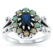 Blue Lab Sapphire And Opal Antique Design .925 Sterling Silver Ring Size 7 311