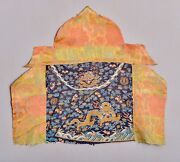 Early Antique Qing Imperial Dragon Robe Kesi Textile Altar Tapestry Fragment
