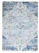 Transitional Machine Made Ivory Blue Wool Rug 5and0393 X 7and0393
