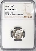 1960 Proof Roosevelt Dime Certified Pf 69 Cameo By Ngc