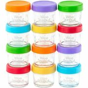 Glass Baby Food Storage Containers Set Of 12 4 Oz Jars With Lids Freezer Small
