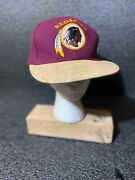 Vtg Redskin Snapback Cap American Needle Throwbacks Wool And Distress Leather Rare