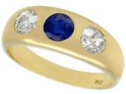 Antique 0.62 Ct Blue Sapphire And 0.93 Ct Diamond 14k Yellow Gold Ring