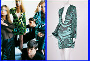 S/s 1996 Vintage Tom Ford For Green Velvet And Black Chiffon Tunic Size 42