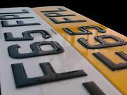 Pair Of Road Legal Front And Rear 3d Gel Raised Domed Gloss Black Number Plates