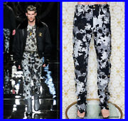 F/w 2012 Look 27 Brand New Versace Gray Military Floral Print Pants 34 - 50 L