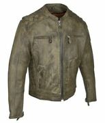 Mens Brown Heavy Duty Leather Racing Jacket Zip Air Vents 2 Concealed Pockets
