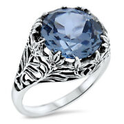 Victorian Antique Style .925 Sterling Silver Sim Aquamarine Ring Size 7   738