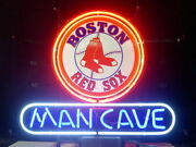 Man Cave Boston Red Sox 17x14 Neon Sign Lamp Light Glass Bar With Dimmer
