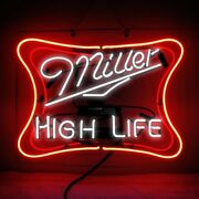Miller High Life Neon Sign Lamp Light Pub Acrylic Glass Windows Beer With Dimmer