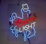 Coors Light Cowboy Neon Sign Lamp Pub Acrylic Glass Windows Beer With Dimmer