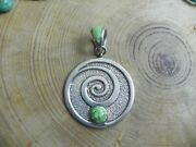 Big Gaspeite And Sterling Silver Swirl Pendant By Christin Wolf Navajo