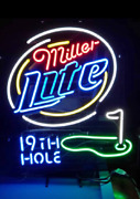 Miller Lite 19th Hole Golf 20x16 Neon Sign Lamp Light Beer Bar With Dimmer