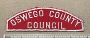 Vintage Oswego County Council Boy Scout Red And White Uniform Strip Patch Rws Full