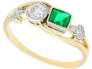 Antique 0.30 Ct Emerald And 0.22 Ct Diamond 14k Yellow Gold Twist Ring 5.75