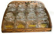 Woodpecker Woodware Vintage Rooster Spice Rack 8 Glass Apothecary Jars Handpaint
