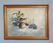 Textured Still Life Art Study Painting Of Fruit Painted With Palette Knife C196