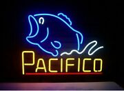 Pacifico Bass Fish 20x16 Neon Sign Lamp Bar With Dimmer
