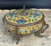 Antique French Bronze And Champleve Enamel Pot Chinoiserie