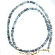 Aquamarine Necklace Faceted Solid Strand Sterling Silver 14k Gold Gf 4.5mm 20
