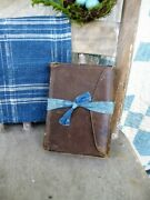 1870 Leather Bound Bible Tied W Anitique Blue Calico