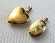 Vintage Gold Filled Heart And Engraved Oval Lockets Two Pieces