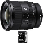 Sony Fe 20mm F1.8 G Large Aperture Ultra Wide Angle G Lens With Lexar 128gb Card
