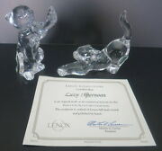 2 Pc Lenox Clear Crystal Cats Lazy Afternoon W/coa And Gentle Friends W/butterfly