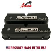 Ford 289 302 351 Windsor Valve Covers- Black W/ Carroll Shelby Signature Logo