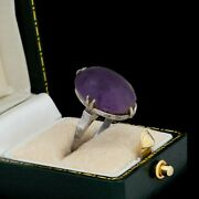 Antique Vintage Art Deco 925 Sterling Silver Siberian Amethyst Pinky Ring S 4.25