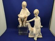 2 Nao Spain By Lladro Porcelain Figurines Boy With Toy Pony And Boy With Accordion