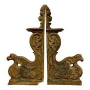 Mid 19th Century French Carved Wooden Architectural Brackets   Corbels - A Pair