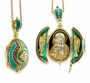 Religious Gifts Emerald Egg Pendant Madonna Child Icon Silver Gold Tone 1 1/2 In