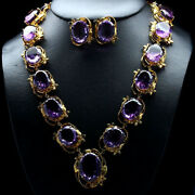 Natural Set African Purple Amethyst Necklace With Earrings 925 Silver