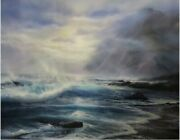 Raymond Page Misty Surf 1985 33x40 Oil On Canvas Painting