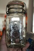 Antique 1qt Clear Acme Bail Mason Jar Item A - 1046