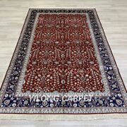 Yilong 5and039x8and039 Red Handmade Silk Rugs All-over Home Decor Hand Knotted Carpets 23b