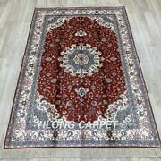 Yilong 4'x6' Red Hand Knotted Silk Carpets Traditional Vintage Home Area Rug 18b