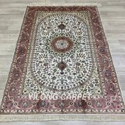 Yilong 4and039x6and039 Pink Hand Knotted Silk Carpets Pet Friendly Vintage Porch Rug 19b