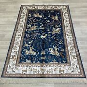 Yilong 4'x6' Blue Hand Knotted Silk Carpets Hunting Scene Tribal Vintage Rug 20b