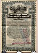 Cancelled Railroad Bond Chicago Rock Island And Pacific Railway 1000 W/ Coupons